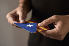 Envelope with the Catalan pro-independence flag Royalty Free Stock Images