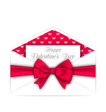 Envelope with Celebration Card and Pink Bow Ribbon for Valentines Day Royalty Free Stock Images