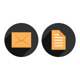 Envelope and check list in circles with long Stock Photography