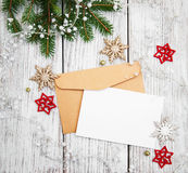 Envelope with christmas decoration Royalty Free Stock Images