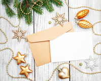 Envelope with christmas decoration Royalty Free Stock Photos