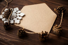 Envelope with Christmas decoration on wood table Stock Photography