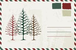 Envelope with christmas sketch and place for your Royalty Free Stock Photos