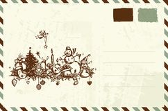 Envelope with christmas sketch and place for your Royalty Free Stock Images