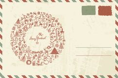 Envelope with christmas sketch and place for your Stock Images