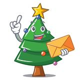 With envelope Christmas tree character cartoon. Vector illustration Stock Photos
