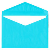 Envelope ciano do vintage isolado no branco foto de stock royalty free