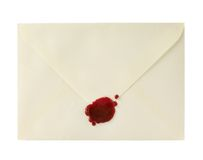 Envelope closed with a sealing wax Royalty Free Stock Image