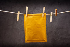 Envelope on clothes rope Royalty Free Stock Photography