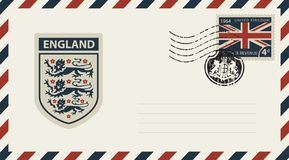 Envelope with Coat of Arms of England and uk flag. Vector envelope with Coat of Arms of England, a postage stamp with flag of United Kingdom and rubber stamp in Royalty Free Stock Image