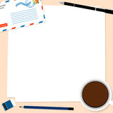 Envelope coffee notepad copy-space paper vector. Envelope coffee notepad copy space paper vector Royalty Free Stock Photography