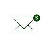 Envelope and coin business icon. Vector isolated illustration of business message Royalty Free Stock Photo