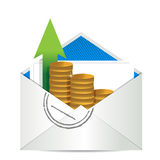 Envelope with coins Royalty Free Stock Photos