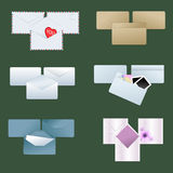 Envelope collection. Vector pack of six various envelopes Stock Images