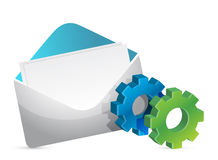 Envelope and color gears Royalty Free Stock Photography