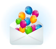 Envelope with colorful balloons. White envelope illustration with colorful party balloons stock illustration