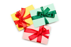 Envelope with colourful ribbon Stock Images