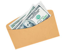 Envelope com dólares do dinheiro Fotografia de Stock Royalty Free