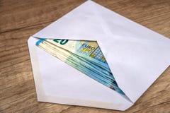 Envelope com euro- cédulas Foto de Stock