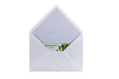 Envelope com eurobanknote Imagem de Stock Royalty Free