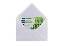 Envelope com eurobanknotes Fotografia de Stock Royalty Free