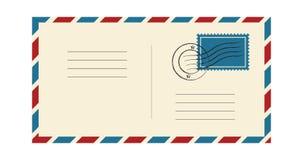 Envelope com selo e carimbo postal Correspondência internacional do correio Quadro azul e vermelho Ilustração do vetor isolada no ilustração do vetor