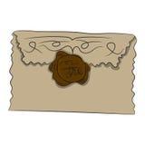 Envelope com selo Ilustração do vetor Desenhar à mão ilustração royalty free