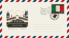 Envelope com selo postal com Puente Rialto Fotografia de Stock Royalty Free