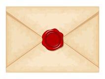 Envelope com selo vermelho da cera Ilustração do vetor Fotos de Stock Royalty Free