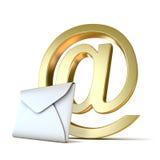 Envelope com sinal dourado do email 3d rendem Imagens de Stock Royalty Free