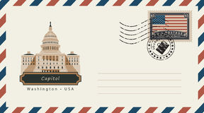 Envelope com um selo postal com Capitólio Imagens de Stock Royalty Free