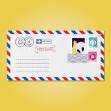 Envelope com vetor dos selos (estrangeiro e hexágonos) ilustração do vetor