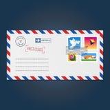 Envelope com vetor dos selos (pomba, papagaio, tulipa e raposa) ilustração stock