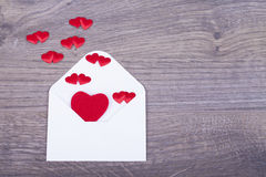Envelope from coming out of the heart Royalty Free Stock Photography