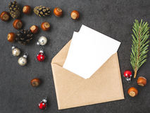 Envelope, cones, avelã e decorações do Natal Foto de Stock Royalty Free