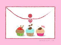 Envelope with cupcakes Royalty Free Stock Image
