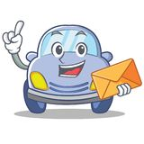With envelope cute car character cartoon Stock Image