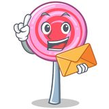 With envelope cute lollipop character cartoon. Vector illustration Royalty Free Stock Photos