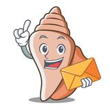 With envelope cute shell character cartoon Stock Photo