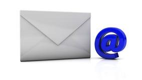 Envelope in 3d. White envelope next to the symbol vector illustration