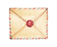 Envelope da aquarela Fotografia de Stock