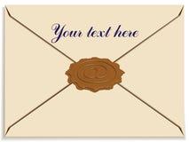 Envelope da letra com uma cera do selo como o sinal do email Ilustração Royalty Free