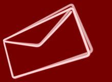 Envelope de néon branco no fundo vermelho Imagens de Stock Royalty Free