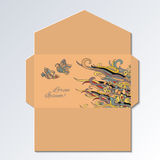 Envelope design with hand drawn birds and abstract waves drawing. Stock Image