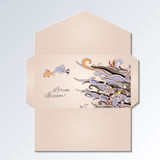 Envelope design with hand drawn birds and abstract waves drawing. Stock Photos