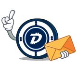 With envelope Digibyte coin character cartoon. Vector illustration Royalty Free Stock Images