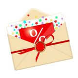 Envelope, discount card and stars Royalty Free Stock Photo