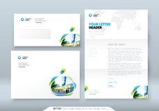Envelope DL, C5, Letterhead. Corporate business template for envelope and letter. Layout with modern colored spots. Abstract background. Creative vector stock illustration