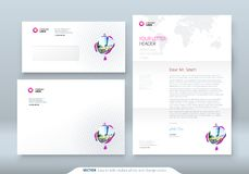 Envelope DL, C5, Letterhead. Corporate business template for envelope and letter. Layout with modern colored spots. Abstract background. Creative vector royalty free illustration