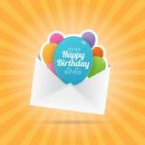 Envelope do balão do aniversário Fotografia de Stock